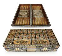 Neu 50x50 cm Holz Backgammon/Schachspiel/Tavla Brett  BK505, mit Holz Steine