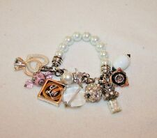 CRAFTED FASHION JEWELRY PEARL BRACELET HEART RING FLOWER RHINESTONE CHARMS