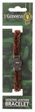 Guinness Ireland Collection Genuine Brown Leather Bracelet With Silver Pint