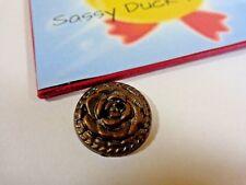 22mm Brass Color Rose Button Plastic 2 Hole Domed 1 Piece Vintage