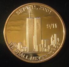 1 OZ COPPER ROUND 9/11 2001 WE SHALL NEVER FORGET DESIGN