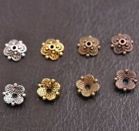 100Pcs Tibetan Silver Spacer beads Flowers Bead Caps Findings 8MM D3113