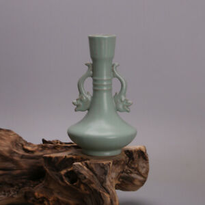 """7.1"""" Collect Chinese Porcelain Celeste Glaze Two Dragon Ear Flat Belly Vase"""