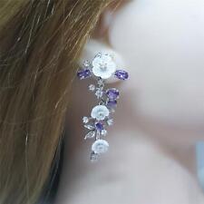 Genuine 7.80ctw Mother of Pearl, Amethyst & Diamond Cut Sapphire 925 Earrings