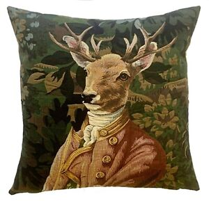 """VERDURE STAG IN PINK JACKET 18"""" BELGIAN TAPESTRY CUSHION COVER WITH ZIP, 5976"""