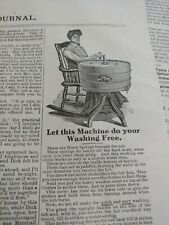 NOV 1904 MAGAZINE PAGE #A416- LET THIS WASHING MACHINE DO YOUR WASHING FREE