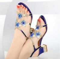 Women Crystal Rhinestones Block Heel Night Summer Dress Sandal Club Bridal Shoes