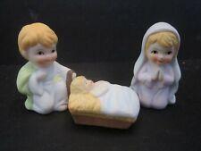 "Vintage porcelain Nativity Miniature. Mary Joseph & Jesus. 2.5"" tall."