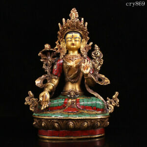 Tibet Jokhang Temple old antique Pure copper Inlaid with gems White Tara statue