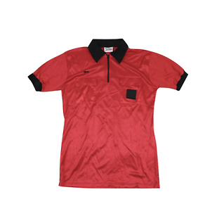 NOS Vtg 80s Mens Large Short Sleeve Referee Soccer Uniform Jersey Red Black USA
