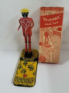 Vintage 1940's Bo Jangle Dances Again Tin Litho Wooden Jigger Toy With Box