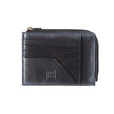 DUDU Bustina portamonete documenti e carte di credito in pelle NERO con cerniera