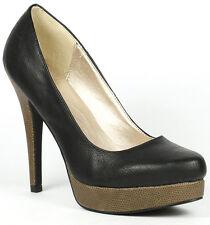 Black Faux Leather Almond Toe High Stiletto Heel Platform Pump Qupid System-267