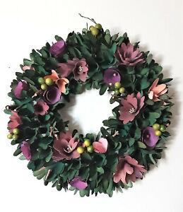 """Spring Floral Wood-Curl Door Wreath Purple Lavender Flowers Greenery Berries 14"""""""