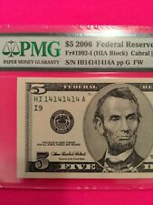 $ 5  SUPER REPEATER - 14141414 - VERY FANCY BINARY SERIAL NUMBER FRN NOTE 2006