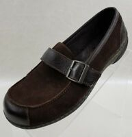 Born Concept BOC Loafers Buckle Strap Brown Leather Slip On Womens Shoes Sz 7.5