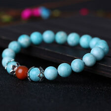 New Natural Light Blue 8mm Amazonite Beads with Red Agate Bead Bracelet