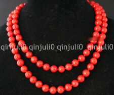 NATURAL 9-10mm Red Sea Coral Gems Round Bead Necklace 36'' JN1295