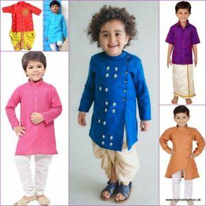 BOYS KIDS traditional KURTA DHOTI PYJAMA LUNGI sherwani INDIAN Asian dress 1-10