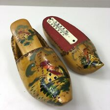 Vintage Dutch Hand Painted Clogs - Clothes Brush & Thermometer