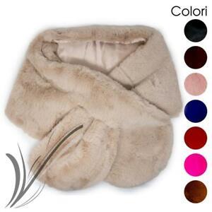 Stola pelliccia elegante eco invernale cerimonia mantella scialle sciarpa