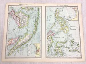 1909 Antique Map of Borneo Sumatra Java The Philippines Celebes George Philip