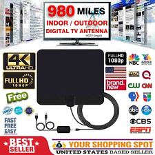 980 Miles Outdoor Flat HD Amplified TV Antenna with Amplified HDTV 1080P 4K 13ft