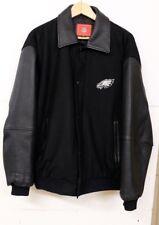VGUC VHTF Vintage Philadelphia Eagles NFL Men's L Black Wool & Leather Jacket MS
