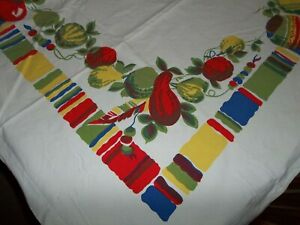 Vintage Wilendur Southwestern Mexican Cotton Tablecloth 74 x 63
