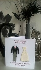 Personalised Handmade 3d Bride and Groom Wedding Diamante Card Son Daughter NEW
