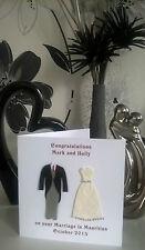 Personalised Handmade 3d Bride and Groom Wedding Diamante Card Son Daughter NEW