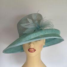 Ladies Wedding Races Mother Bride Ascot Hat Feathers Two Tone Aqua Green Libra