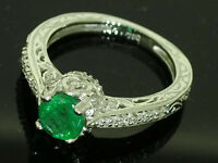 s R195- Genuine 18ct WHITE Gold Natural EMERALD Diamond ENGAGEMENT Ring size N