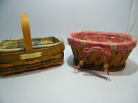LONGABERGER Clothes Pin Booking Basket/ Mini Loaf Bee Basket Combo