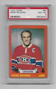 1973 Topps Hockey - Henri Richard #87 -  PSA 8 - NM-MT - Free Shipping **