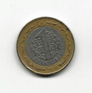 World Coins - Turkey 1 Lira 2009 BiMetallic Coin KM# 1244 ; Lot-T2
