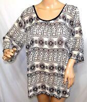 Sweet Candy Women Plus Size 1x 2x 3x  Sheer Chiffon Ivory Black Aztec Top Blouse