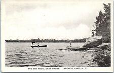 Vintage Photo Postcard Sackett Lake NY New York The Big Rock- East Shore 1920's
