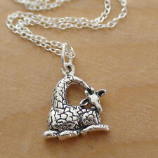 Giraffe Charm Necklace - 925 Sterling Silver - Sitting Giraffe Zoo Safari Animal
