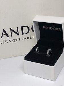 Beautiful Pave Hoop Earrings With Pandora Box And Giftbag