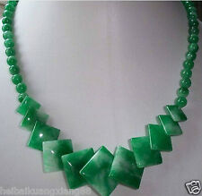 Charm jewelry Green Jade Gemstone Round Square Beads Necklace 18""