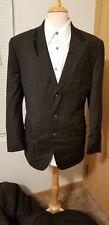Beautiful Basile Ermenegildo Zegna Cloth Mens Black Wool Suit 44R 36W