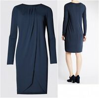 New Ex M&S Ladies Navy Blue Drape Layer Long Sleeve Smart Work Dress Size 6 - 20