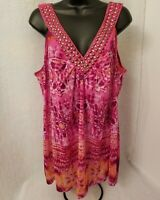 Lane Bryant NWOT Womens Pink Orange White Purple Shirt Top Blouse Size 22 24