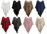 LADIES RUFFLE FRINGE KNIT PONCHO CAPE WOMENS LONG TASSEL JUMPERS SHRUG TOPS 8-18
