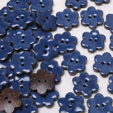 B555 Enamel Coconut Navy Flower ShapeSewing Craft Shell Buttons 16mm 30pcs