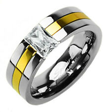 Titanium Gold Stripe Men's Emerald Cut CZ Wedding Band Ring Size 5-14
