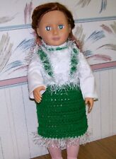 """Green Jumper and Necklace for 18"""" Doll, Handmade, Crochet"""