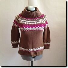 Closeout - Zara Knit Brown Fair Isle High Neck Sweater small
