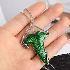 Fashion Men Women Trendy Cute Vintage Elf Green Leaf Necklace Pendant Pin Brooch